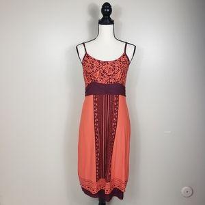 ATHLETA Orange Red Kindered Cami Printed Dress